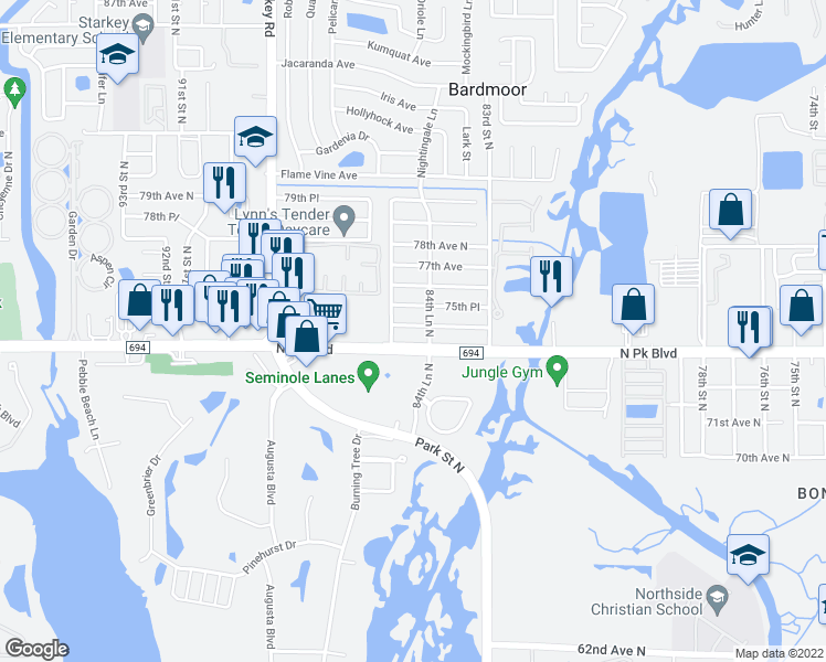 map of restaurants, bars, coffee shops, grocery stores, and more near 8520 75th Avenue in Seminole