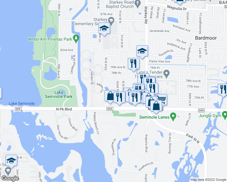 map of restaurants, bars, coffee shops, grocery stores, and more near 7750 92nd Street in Seminole