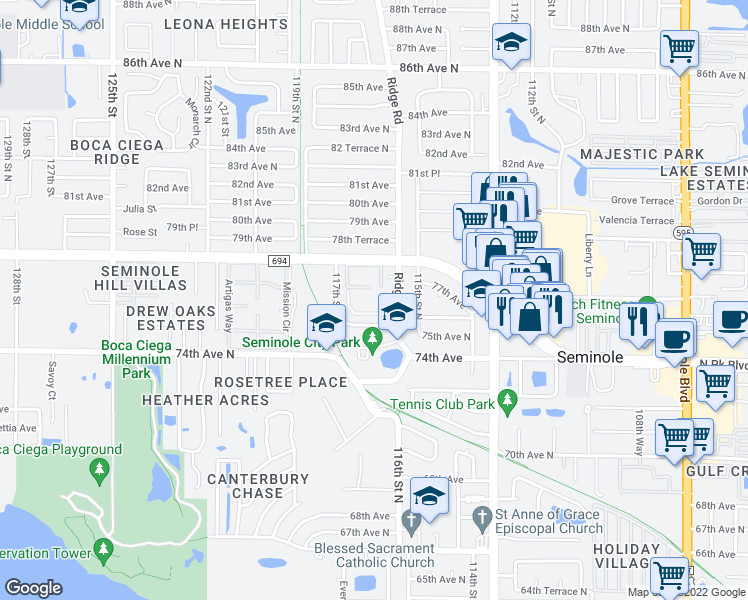 map of restaurants, bars, coffee shops, grocery stores, and more near 7700 Ridge Road in Seminole