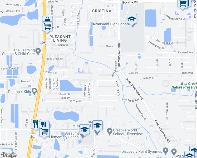 map of restaurants, bars, coffee shops, grocery stores, and more near 10908 Pond Pine Drive in Riverview