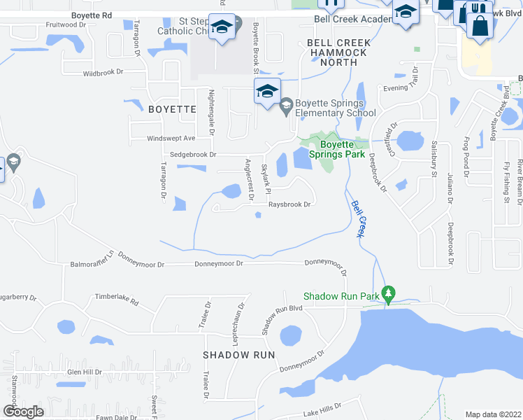 map of restaurants, bars, coffee shops, grocery stores, and more near 12906 Raysbrook Drive in Riverview