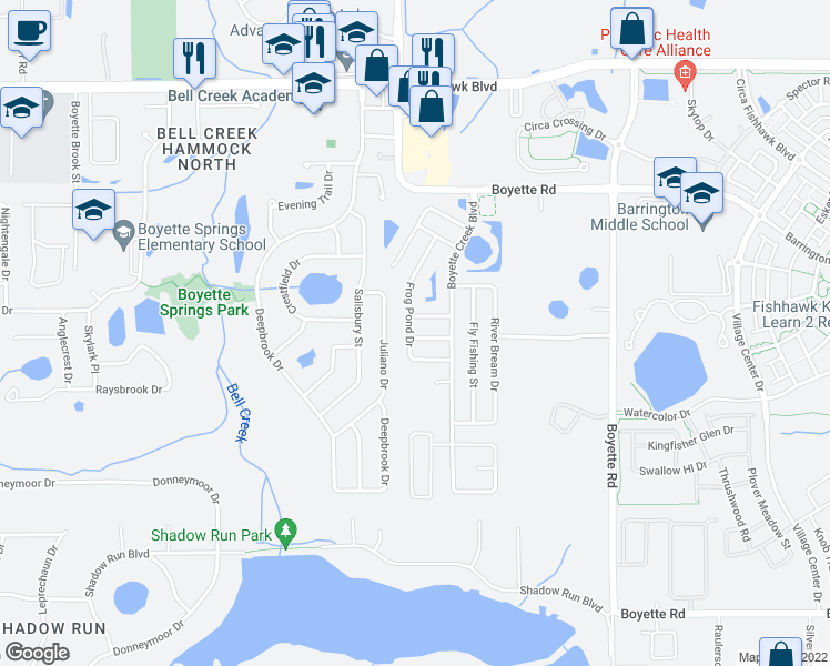 map of restaurants, bars, coffee shops, grocery stores, and more near 13502 Blue Sunfish Court in Riverview