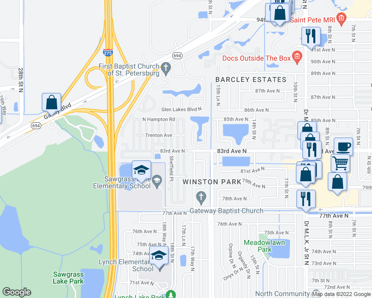 map of restaurants, bars, coffee shops, grocery stores, and more near 2001 83rd Avenue North in St. Petersburg
