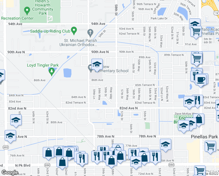 map of restaurants, bars, coffee shops, grocery stores, and more near 8484 58th Way North in Pinellas Park