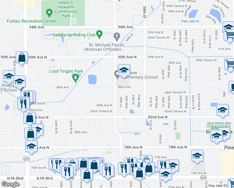 map of restaurants, bars, coffee shops, grocery stores, and more near 8501 60th Street in Pinellas Park
