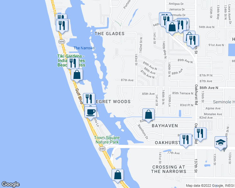 map of restaurants, bars, coffee shops, grocery stores, and more near Egret Lane in Pinellas County