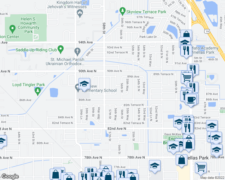 map of restaurants, bars, coffee shops, grocery stores, and more near 8753 57th Street in Pinellas Park