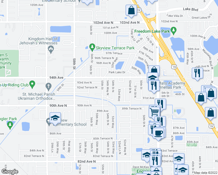 map of restaurants, bars, coffee shops, grocery stores, and more near 9241 54th Way North in Pinellas Park