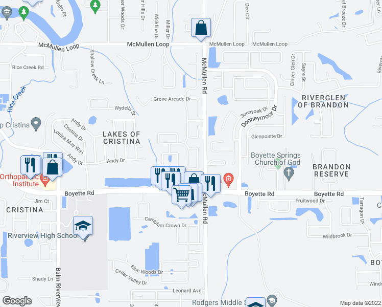 map of restaurants, bars, coffee shops, grocery stores, and more near 9825 White Barn Way in Riverview