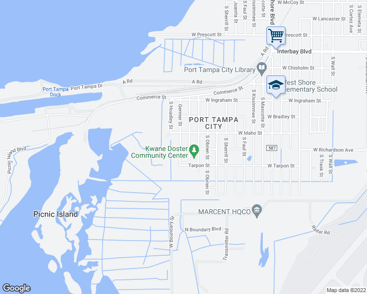 map of restaurants, bars, coffee shops, grocery stores, and more near 7416 South Germer Street in Tampa