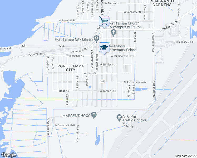 map of restaurants, bars, coffee shops, grocery stores, and more near 7414 South Mascotte Street in Tampa