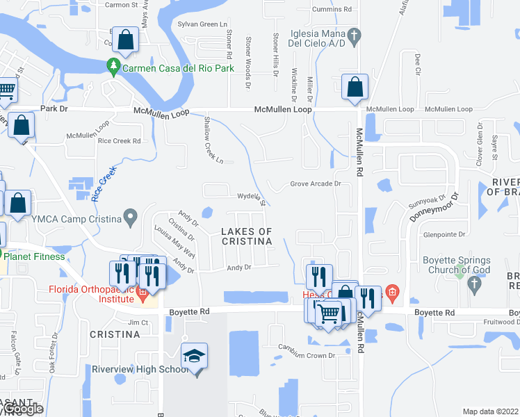 map of restaurants, bars, coffee shops, grocery stores, and more near 9724 Mary Robin Drive in Riverview