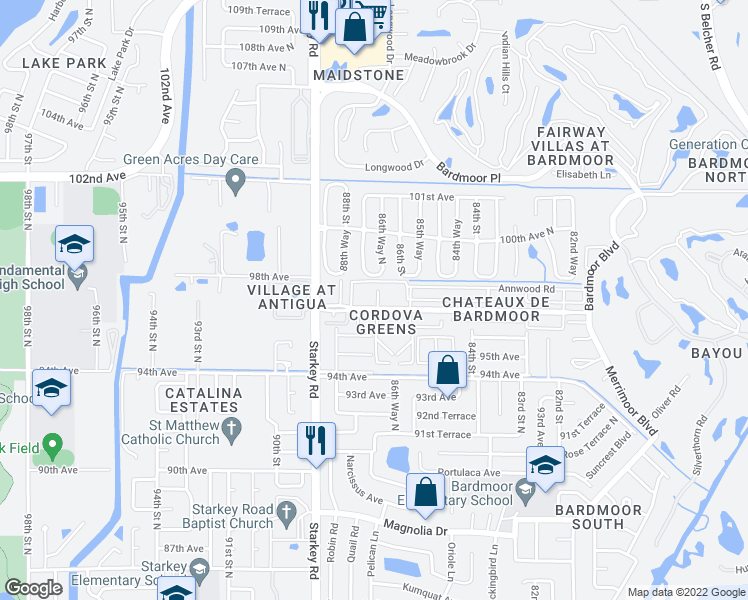 map of restaurants, bars, coffee shops, grocery stores, and more near 8693 Bardmoor Boulevard in Seminole