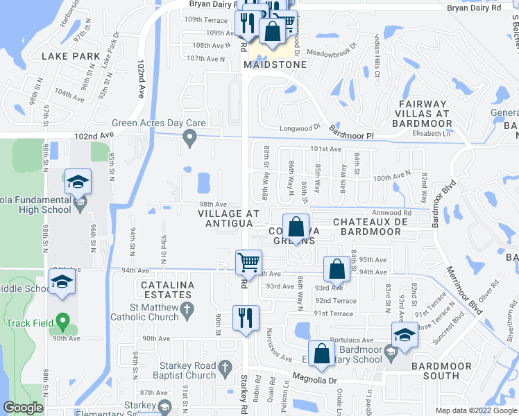 map of restaurants, bars, coffee shops, grocery stores, and more near 9771 Taylor Rose Lane in Largo