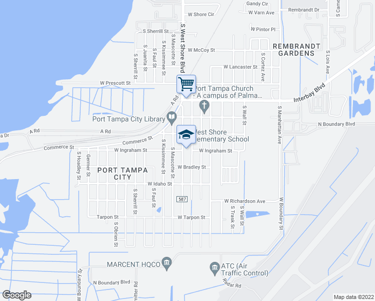 map of restaurants, bars, coffee shops, grocery stores, and more near 7111 South Westshore Boulevard in Tampa