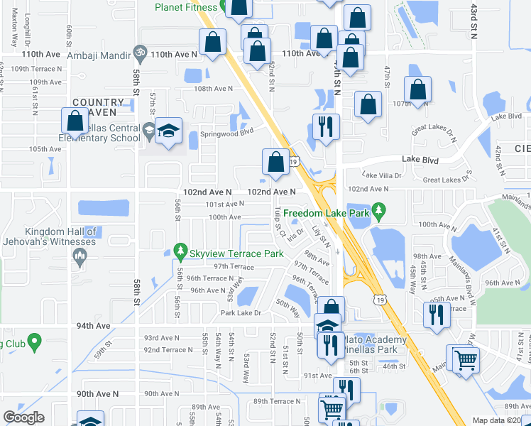 map of restaurants, bars, coffee shops, grocery stores, and more near 5209 100th Avenue in Pinellas Park