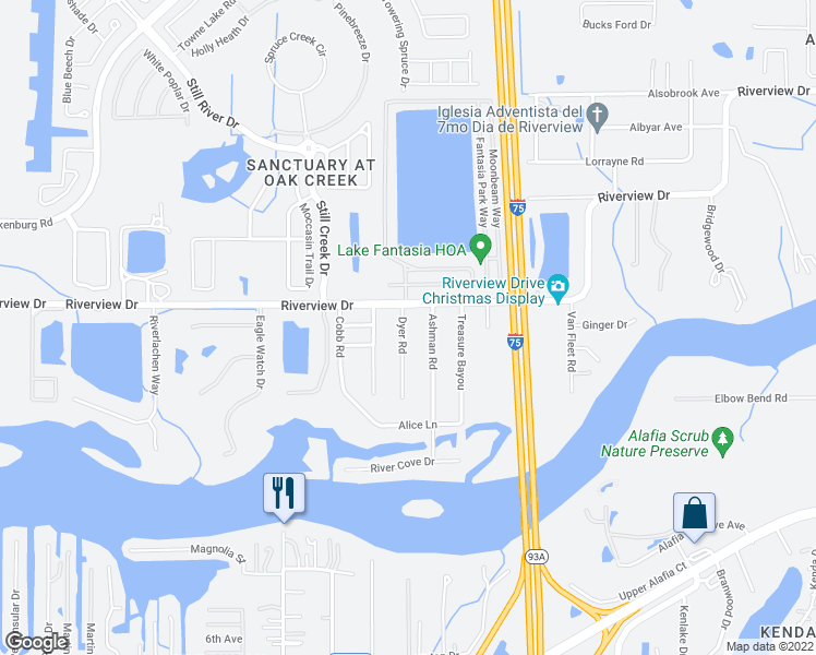 map of restaurants, bars, coffee shops, grocery stores, and more near 8808 Dyer Road in Riverview