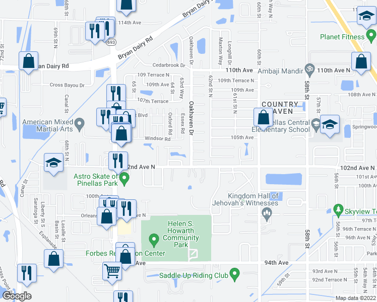 map of restaurants, bars, coffee shops, grocery stores, and more near 10302 Oakhaven Drive in Pinellas Park