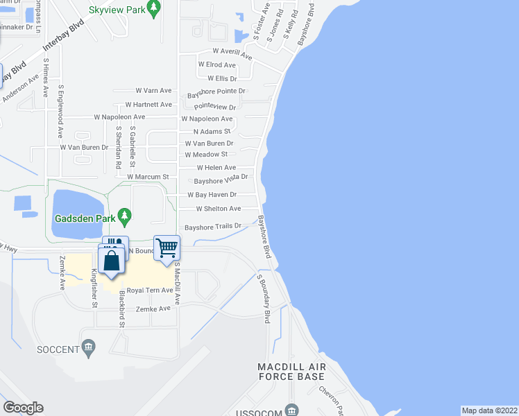 map of restaurants, bars, coffee shops, grocery stores, and more near Bayshore Blvd & W Shelton Ave in Tampa