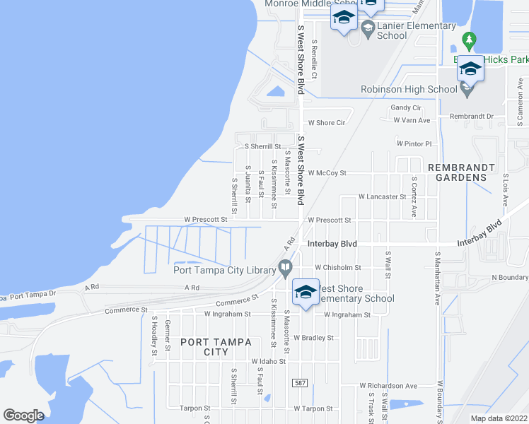 map of restaurants, bars, coffee shops, grocery stores, and more near 6828 South Faul Street in Tampa