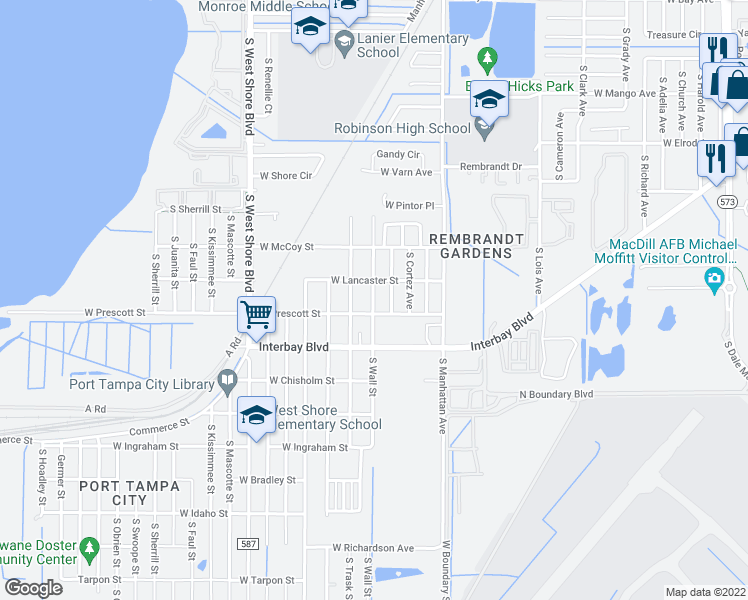 map of restaurants, bars, coffee shops, grocery stores, and more near 4424 West Prescott Street in Tampa