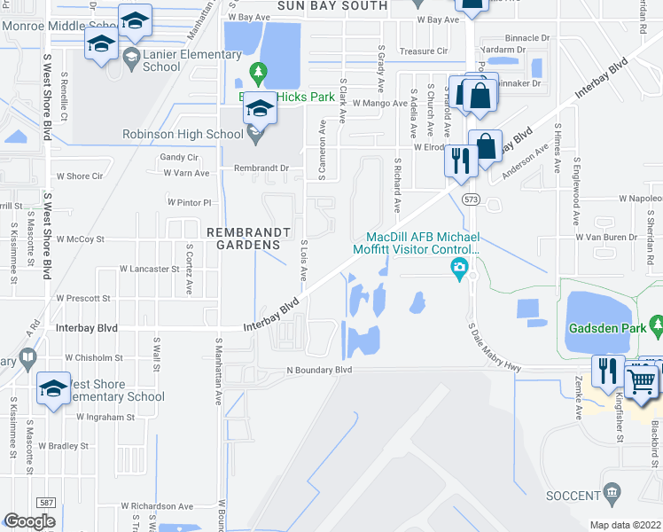 map of restaurants, bars, coffee shops, grocery stores, and more near 7009 Interbay Boulevard in Tampa