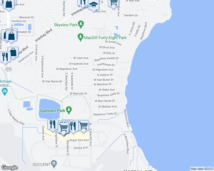 map of restaurants, bars, coffee shops, grocery stores, and more near 3012 West Meadow Street in Tampa