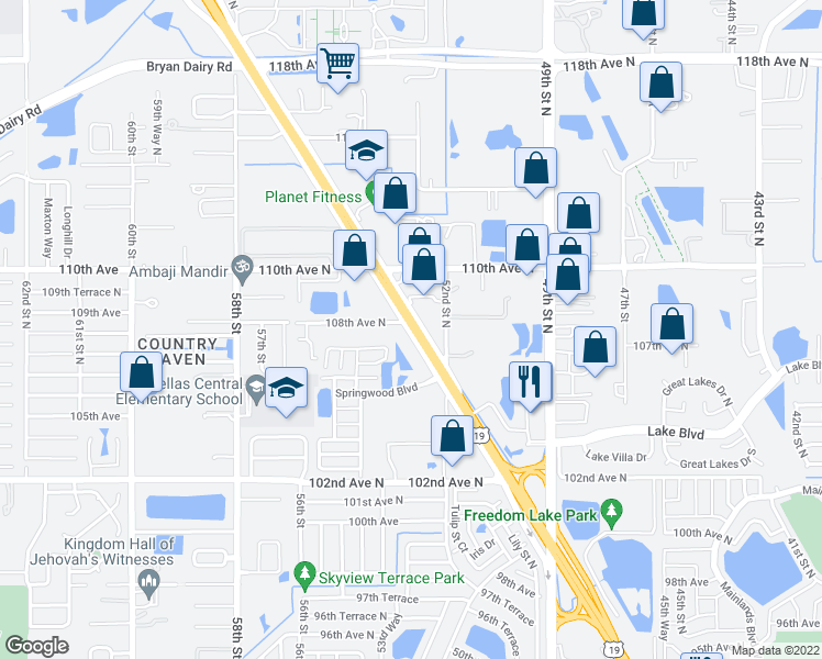 map of restaurants, bars, coffee shops, grocery stores, and more near 10707 US Highway 19 North in Clearwater