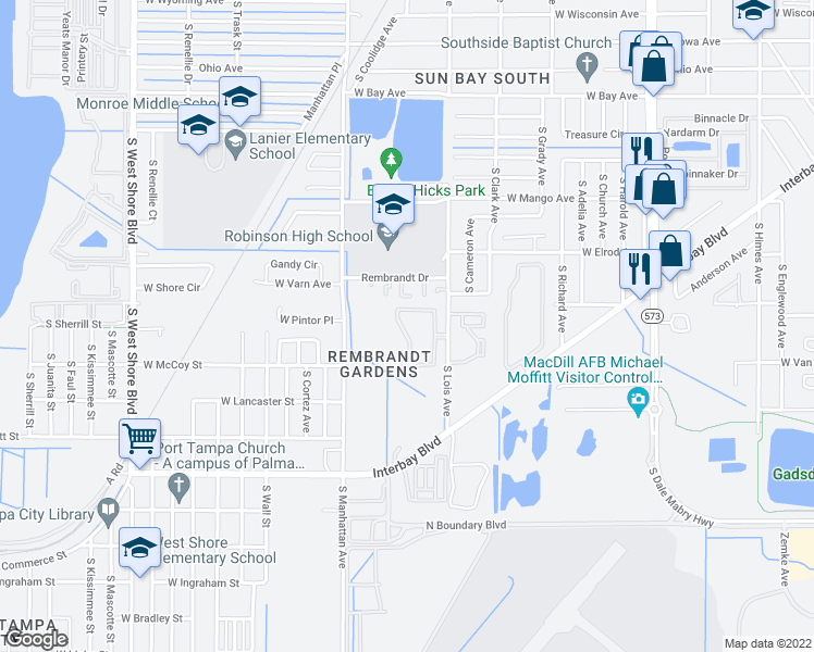 map of restaurants, bars, coffee shops, grocery stores, and more near 6727 South Lois Avenue in Tampa