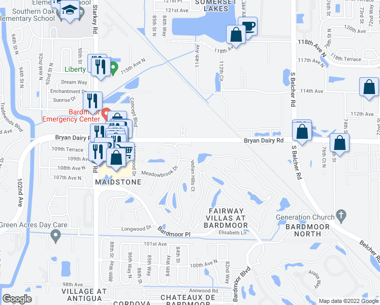 map of restaurants, bars, coffee shops, grocery stores, and more near 8310 Meadowbrook Drive in Seminole
