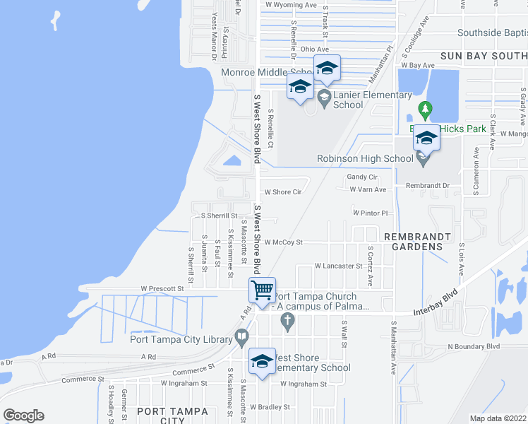 map of restaurants, bars, coffee shops, grocery stores, and more near 6608 South West Shore Boulevard in Tampa