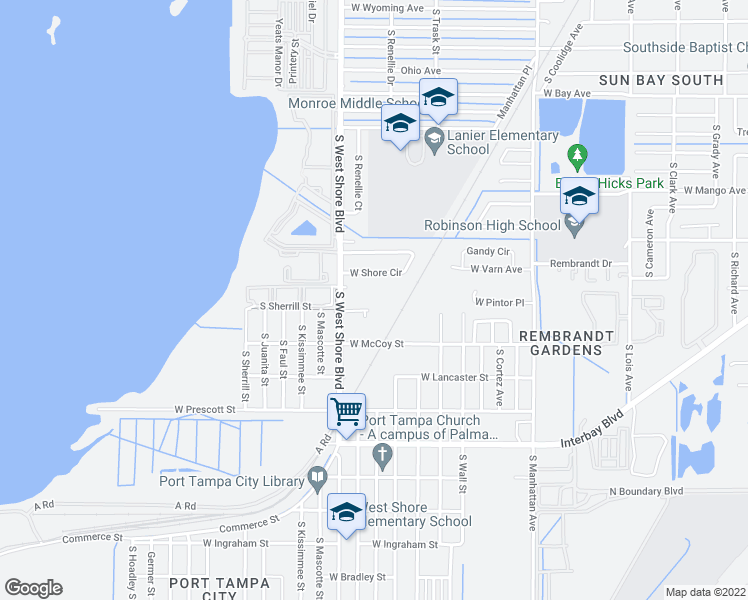 map of restaurants, bars, coffee shops, grocery stores, and more near 5053 Staunton Street in Tampa
