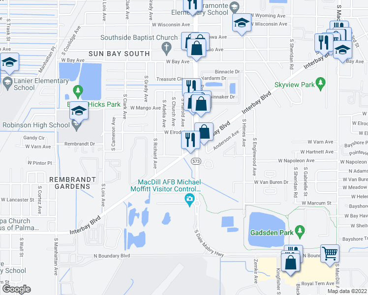 map of restaurants, bars, coffee shops, grocery stores, and more near 6815 Interbay Boulevard in Tampa