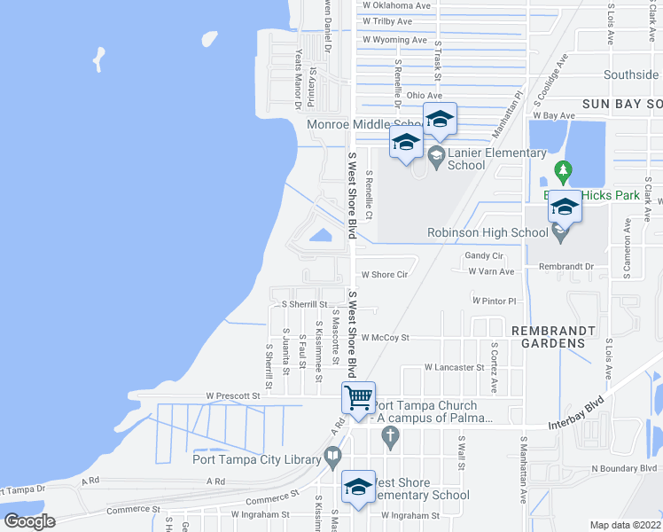 map of restaurants, bars, coffee shops, grocery stores, and more near 6501 South West Shore Boulevard in Tampa