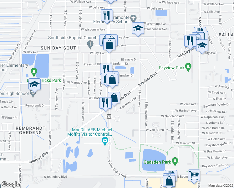 map of restaurants, bars, coffee shops, grocery stores, and more near 3730 West Elrod Avenue in Tampa
