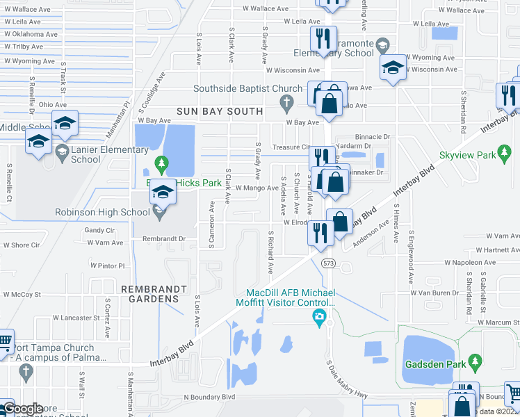 map of restaurants, bars, coffee shops, grocery stores, and more near 4003 Southernwood Court in Tampa