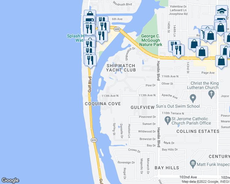 map of restaurants, bars, coffee shops, grocery stores, and more near 11303 Shipwatch Lane in Largo