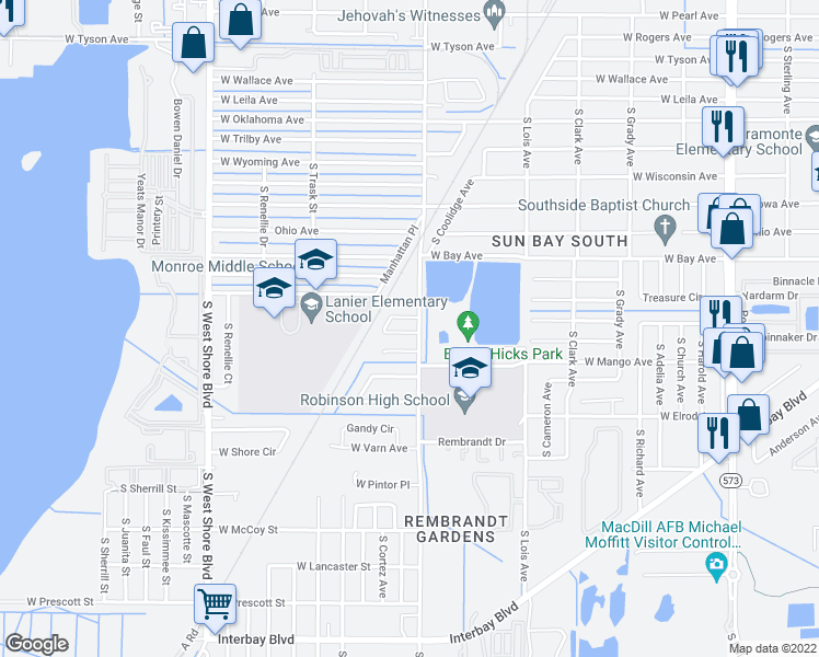 map of restaurants, bars, coffee shops, grocery stores, and more near 6237 South Manhattan Avenue in Tampa