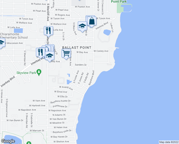 map of restaurants, bars, coffee shops, grocery stores, and more near 6206 South Kelly Road in Tampa