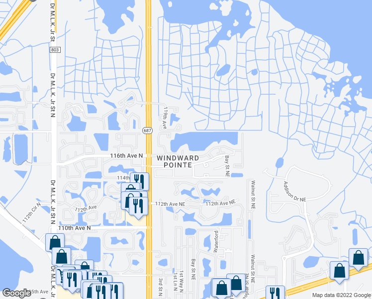 map of restaurants, bars, coffee shops, grocery stores, and more near 11601 4th Street North in St. Petersburg