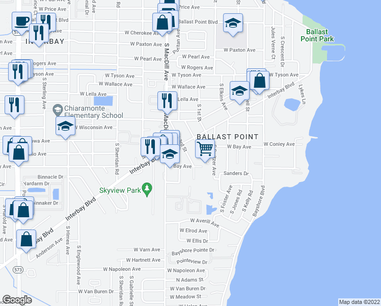 map of restaurants, bars, coffee shops, grocery stores, and more near 6012 South 3rd Street in Tampa
