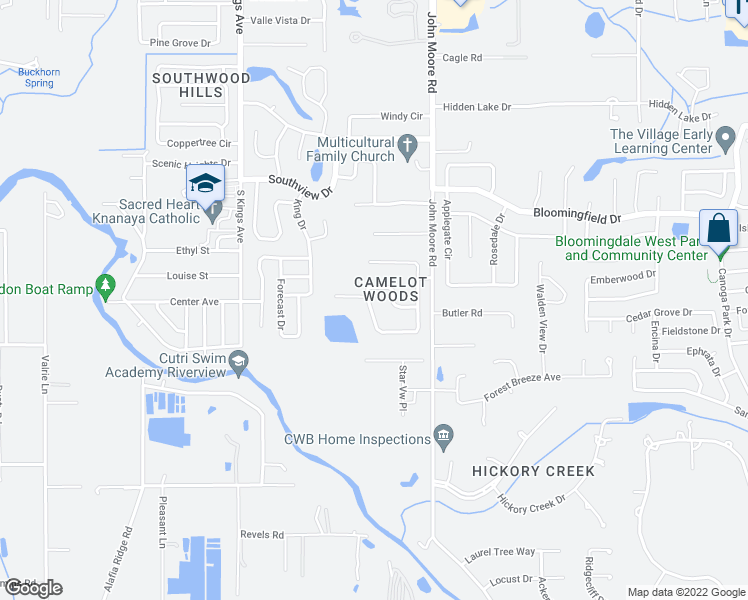 map of restaurants, bars, coffee shops, grocery stores, and more near 60 Camelot Ridge Drive in Brandon