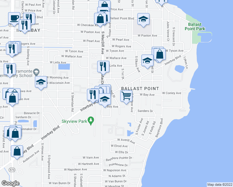 map of restaurants, bars, coffee shops, grocery stores, and more near 6010 Interbay Boulevard in Tampa