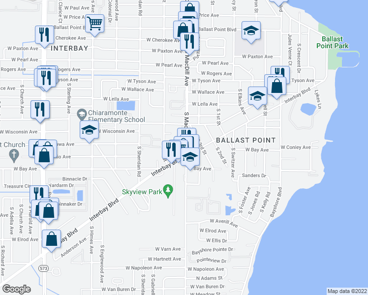 map of restaurants, bars, coffee shops, grocery stores, and more near 5823 South MacDill Avenue in Tampa