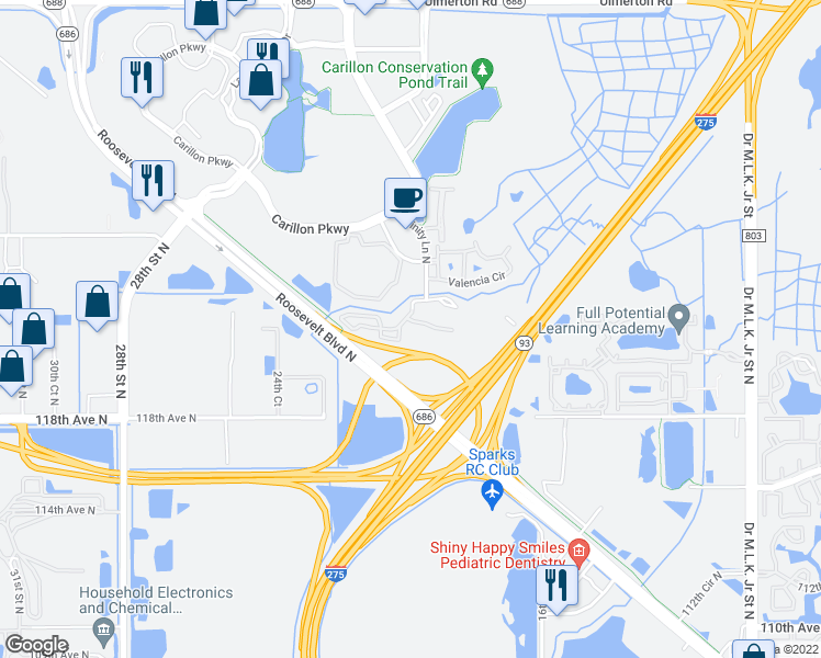 map of restaurants, bars, coffee shops, grocery stores, and more near 500 Trinity Lane in Saint Petersburg