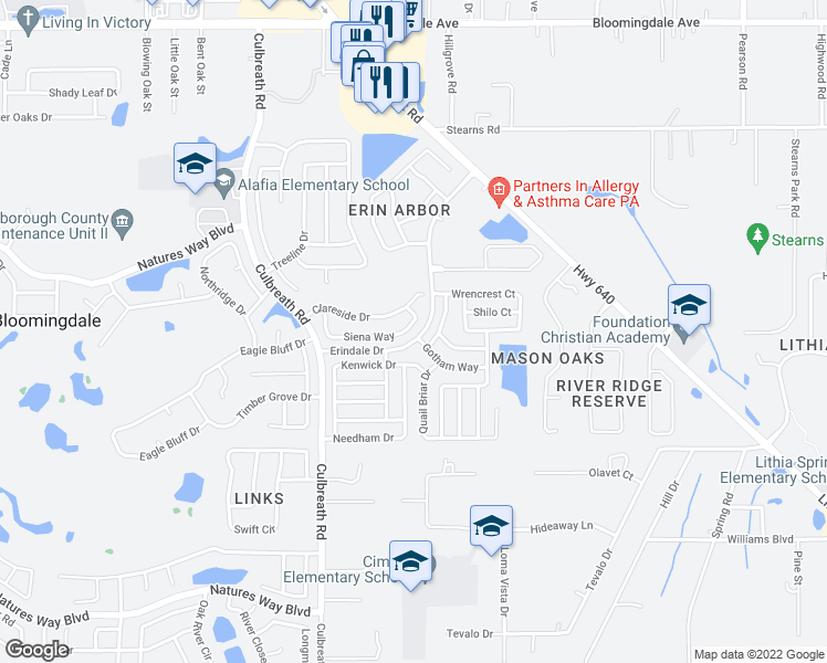 map of restaurants, bars, coffee shops, grocery stores, and more near 2555 Siena Way in Valrico