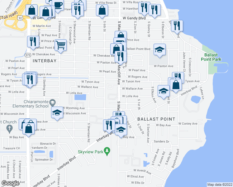 map of restaurants, bars, coffee shops, grocery stores, and more near 5631 Gaspar Oaks Drive in Tampa