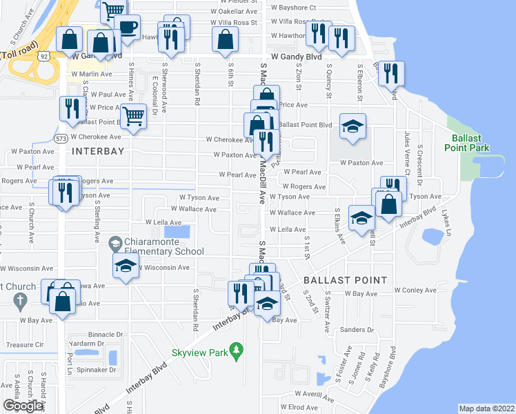 map of restaurants, bars, coffee shops, grocery stores, and more near 3106 Toscana Circle in Tampa