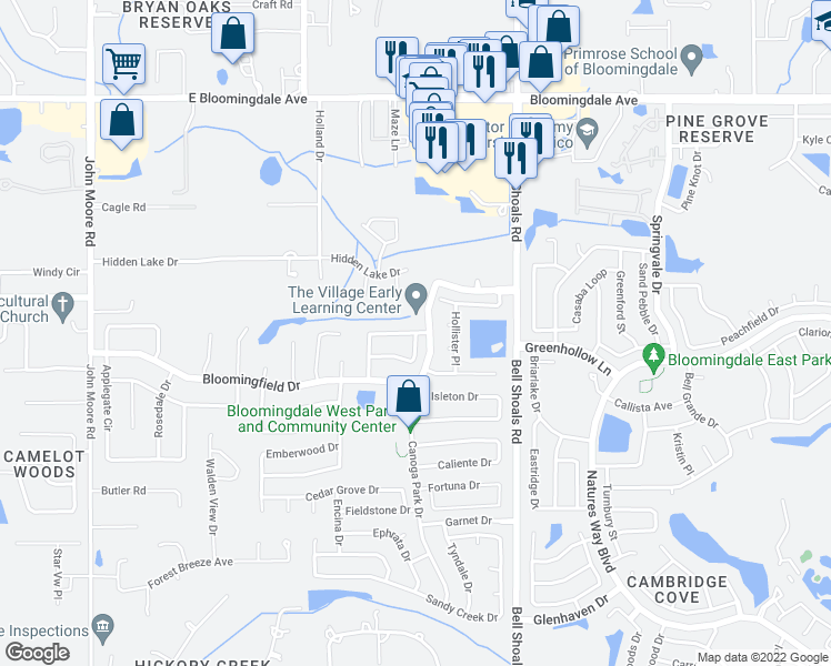 map of restaurants, bars, coffee shops, grocery stores, and more near Shady Nook Drive in Brandon
