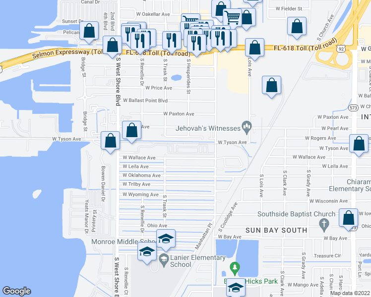 map of restaurants, bars, coffee shops, grocery stores, and more near 4530 Bay Spring Court in Tampa